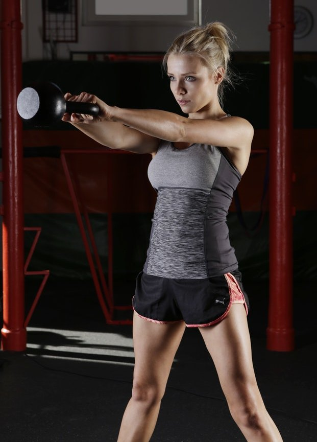 A Kettlebell Workout and Kettlebell Swing performed by blonde woman